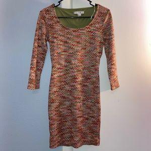Colorful pattern bodycon dress